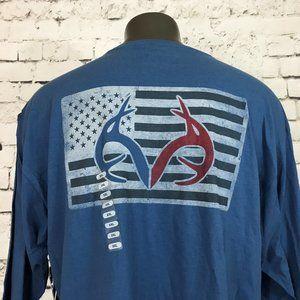 NWT Real Tree Men's T-Shirt Long Sleeve Blue Flag